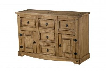 """Caila 60"""" Wide 3 Drawer Sideboards For 2020 Bonsoni Pine Corona 2 Door 5 Drawer Sideboard (View 25 of 30)"""