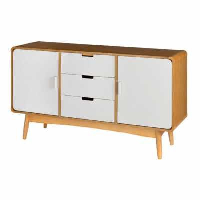 """Caila 60"""" Wide 3 Drawer Sideboards For Favorite Retro Style White Malmo 3 Drawer 2 Door Sideboard With Oak (View 13 of 30)"""