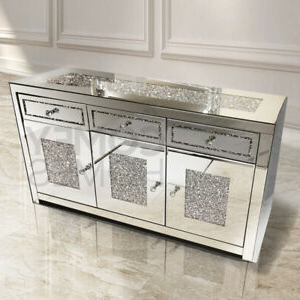 """Caila 60"""" Wide 3 Drawer Sideboards Within Well Known Mirrored Crushed Crystal 3 Door 3 Drawer Sideboard Free (View 27 of 30)"""