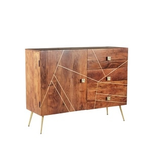 """Capri Brown And Antique Gold Sunburst 4 Door Accent Throughout Preferred Electra 46"""" Wide 4 Drawer Acacia Wood Buffet Tables (View 28 of 30)"""