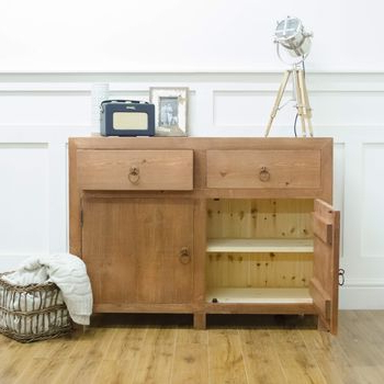 """Chunky Solid Wood Two Door Two Drawer Sideboardthe In Widely Used Orianne 55"""" Wide 2 Drawer Sideboards (View 12 of 30)"""