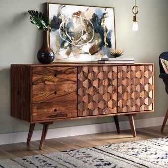 """Cora Rose 62.9"""" Wide 3 Drawer Acacia Wood Sideboards Intended For Recent Cora Rose  (View 19 of 26)"""