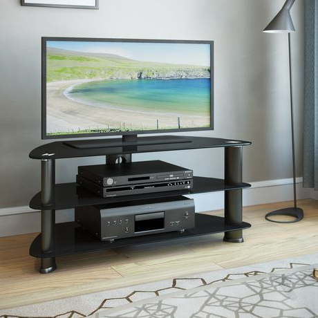 """Corliving Satin Black Glass Tv Stand, For Tvs Up To 43 Regarding Most Recent Quillen Tv Stands For Tvs Up To 43"""" (View 2 of 30)"""