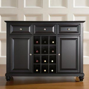 Crosley Cambridge Buffet Server With Wine Storage (with Intended For Newest Orner Traditional Wood Sideboards (View 28 of 30)