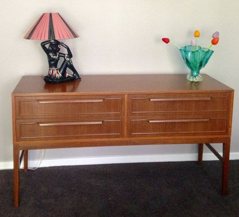 """Current 1960s Teak Sideboard Dresser Drawers Mid Century Mcm Throughout Searsport 48"""" Wide 4 Drawer Buffet Tables (View 22 of 30)"""