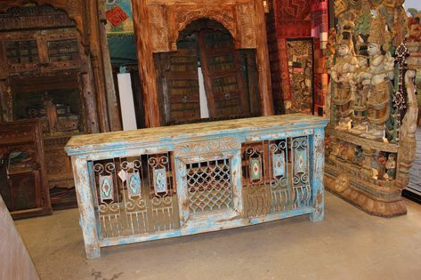 Current Keeney Sideboards With Antique Distressed Tv Console Table Hand Carved Iron Jali (View 11 of 30)