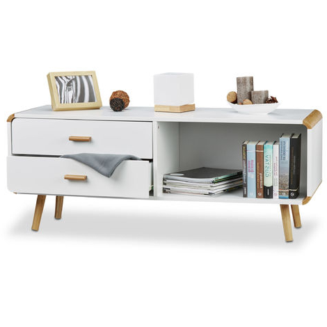 """Current Relaxdays Sideboard With Rounded Edges And 2 Drawers, Long Throughout Desirae 48"""" Wide 2 Drawer Sideboards (View 28 of 30)"""