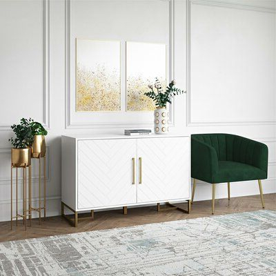 """Current Ronce 48"""" Wide Sideboards Within Cosmolivingcosmopolitan Herringbone 48"""" Wide Buffet (View 9 of 30)"""