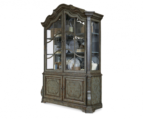 Current Wood Accent Sideboards Buffet Serving Storage Cabinet With 4 Framed Glass Doors For Lady Helena Display Cabinet – Decorium Furniture (View 22 of 30)