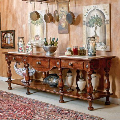 """David Michael 115"""" Wide 3 Drawer Walnut Wood Buffet Table Throughout Popular Desirae 48"""" Wide 2 Drawer Sideboards (View 30 of 30)"""