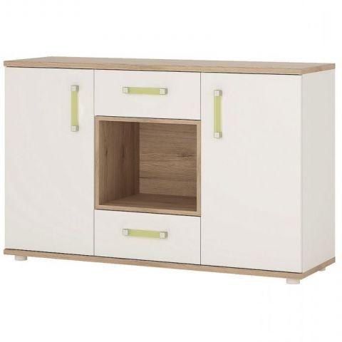 "Desirae 48"" Wide 2 Drawer Sideboards With Most Popular 4kids 2 Door 2 Drw Sideboard – Open Shelf – Light Oak (View 20 of 30)"