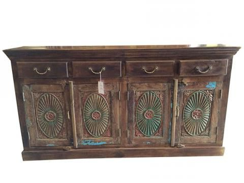 """Desirae 48"""" Wide 2 Drawer Sideboards Within Current Chakra Carved Drawer Sideboard Media Console Buffet Chest (View 11 of 30)"""
