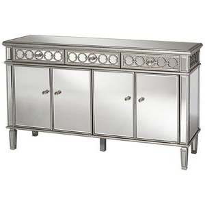 """Elizabeth 60"""" Wide 4 Door Silver Mirrored Buffet Cabinet Throughout Well Known Myndi 60"""" Wide Sideboards (View 7 of 30)"""