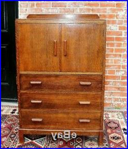 English Tiger Oak Wood Antique Cabinet 3 Drawer 2 Door Within Most Recent 3 Drawer And 2 Door Cabinet With Metal Legs (View 20 of 30)