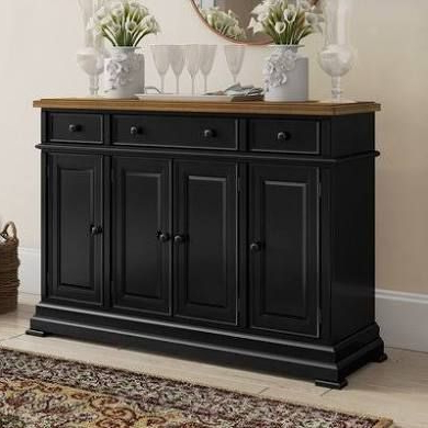"""Eskew 60"""" Wide Sideboards Inside Most Up To Date Courtdale Sideboard Three Posts Color: Almond / Ebony (View 17 of 30)"""