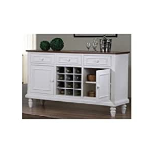 """Eskew 60"""" Wide Sideboards Within 2019 Amazon – White Cottage Sideboard Buffet Server (View 15 of 30)"""
