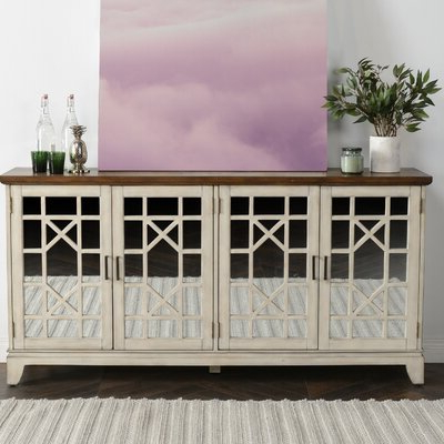 """Espresso Wood Sideboard / Credenza Sideboards & Buffets Regarding Most Current Westhoff 60"""" Wide 6 Drawer Pine Wood Credenzas (View 23 of 30)"""
