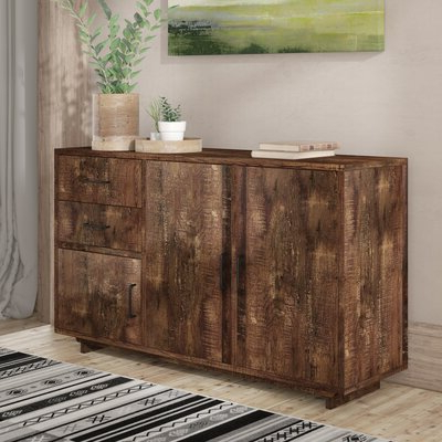 """Fahey 58"""" Wide 3 Drawer Acacia Wood Sideboards With Current Sideboards & Buffet Tables (View 3 of 30)"""