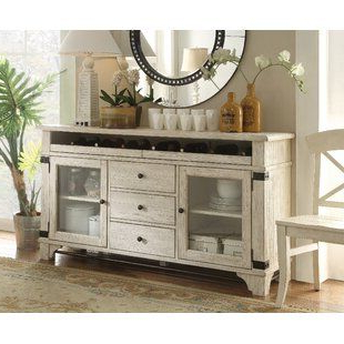 """Fahey 58"""" Wide 3 Drawer Acacia Wood Sideboards Within Current Colborne Sideboard (View 19 of 30)"""
