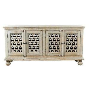 "Famous Bengal Manor Mango Wood Aged Ash 4 Door Carved Sideboard Regarding Zinaida 59"" Wide Mango Wood Buffet Tables (View 28 of 30)"