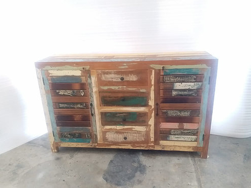 """Famous Indian Reclaimed Wood Two Shutter Style Doors, Four Drawer Within Nahant 36"""" Wide 4 Drawer Sideboards (View 17 of 30)"""