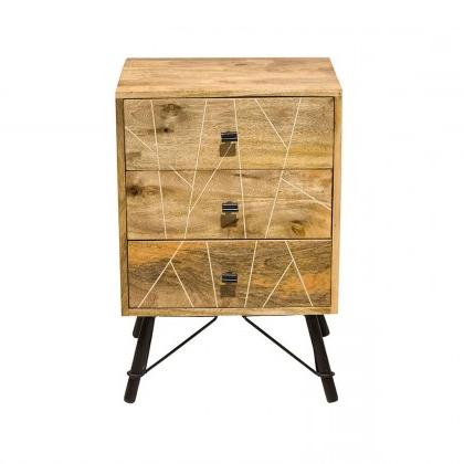 """Famous Mosaic 3 Drawer Nightstand/iron & Mango Wood/natural Regarding Aneisa 70"""" Wide 6 Drawer Mango Wood Sideboards (View 2 of 30)"""