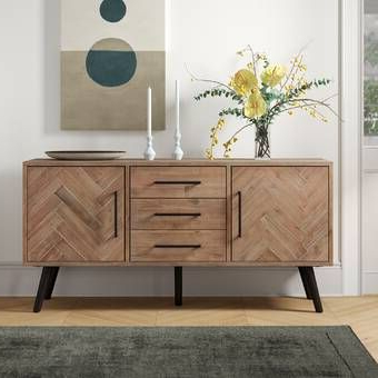 """Famous Sandweiler 54"""" Wide 2 Drawer Sideboards Pertaining To Foundry Select Springdale 54"""" Wide 3 Drawer Mango Wood (View 3 of 30)"""