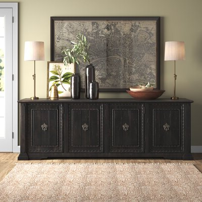 """Famous Yukon 58"""" Wide 2 Drawer Pine Wood Sideboards Regarding Farmhouse & Rustic Sideboards & Buffets (View 7 of 30)"""