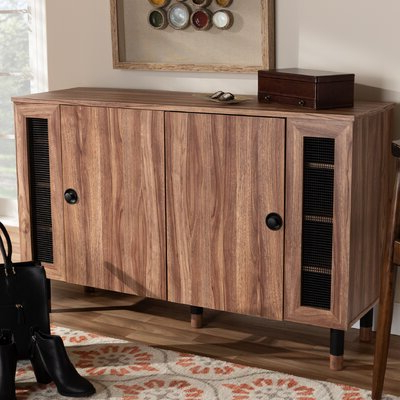 Fashionable Millwood Pines Floor Storage Cabinet With 2 Doors And 2 Open Shelves Within Millwood Pines Modern And Contemporary 2 Door Wood (View 4 of 30)