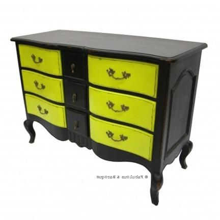 """Fashionable Orianne 55"""" Wide 2 Drawer Sideboards Pertaining To Napoleon 9 Drawer Sideboard – Black & Chartreuse (View 25 of 30)"""