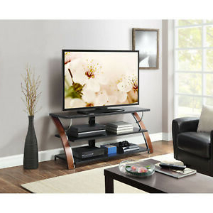 """Fashionable Whalen Brown Cherry 3 In 1 Flat Panel Tv Stand For Tvs Up Inside Buckley Tv Stands For Tvs Up To 65"""" (View 11 of 30)"""