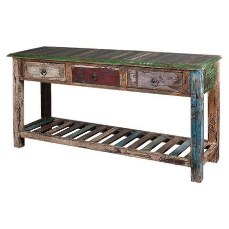 """Fashionable Zinaida 59"""" Wide Mango Wood Buffet Tables Regarding Showcasing 3 Drawers And A Weathered Finish, This (View 18 of 30)"""