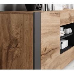 Favorite Bmf Wood Sideboard 164cm Wide Doors 2 Drawers Wotan Oak Inside  (View 22 of 30)