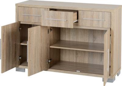 Favorite Milan 3 Door 3 Drawer Sideboard – Sonoma Oak Effect Veneer In 3 Drawer Sideboards (View 17 of 30)
