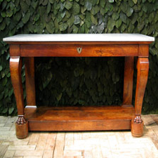 Fine 19th Cent French Marble Top Walnut Console Table Within Famous Follett (View 15 of 30)