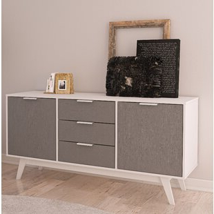 """George Oliver Sideboards """"new York Range"""" Gray Solid Pine Wood With Regard To Preferred Scandinavian Sideboards & Buffets You'll Love In (View 9 of 30)"""