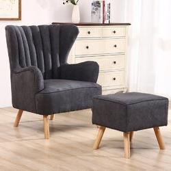 """George Oliver Sideboards """"new York Range"""" Gray Solid Pine Wood Within Fashionable George Oliver Harden Wingback Chair And Footstool (View 8 of 30)"""