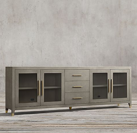 """Graydon Shagreen Glass 4 Door Sideboard With Drawers In With Regard To Widely Used Nahant 36"""" Wide 4 Drawer Sideboards (View 23 of 30)"""