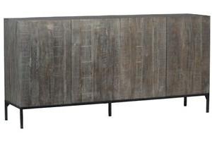 "Hargrove 72"" Wide 3 Drawer Mango Wood Sideboards Within Most Up To Date 72"" Elio Sideboard Distressed Wood Dark Brown Steel Black (View 6 of 30)"