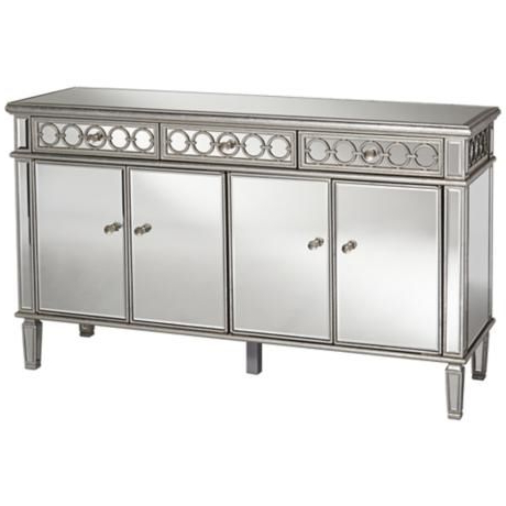 """Heurich 59"""" Wide Buffet Tables Intended For Popular Elizabeth 60"""" Wide 4 Door Silver Mirrored Buffet Cabinet (View 14 of 30)"""