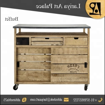 """Iron & Mango Wood Kitchen Utility Buffet With Sliding With Most Up To Date Maddox 80"""" Wide Mango Wood Sideboards (View 15 of 30)"""