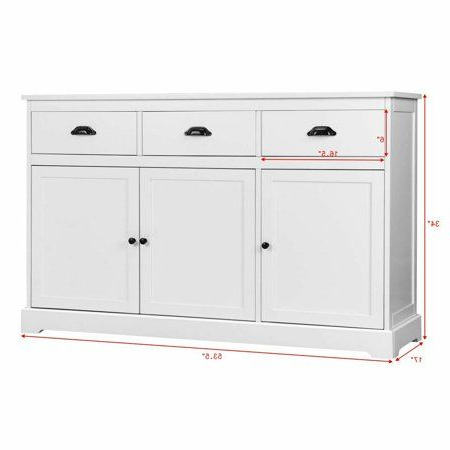 """Isra 56"""" Wide 3 Drawer Sideboards With Regard To Current Gymax 3 Drawers Sideboard Buffet Table Storage Console (View 28 of 30)"""