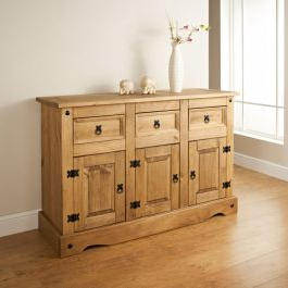 """Isra 56"""" Wide 3 Drawer Sideboards Within Most Recently Released Corona Sideboard 3 Door 3 Drawer Large Mexican Solid Pine (View 10 of 30)"""