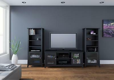 """Jace Tv Stands For Tvs Up To 58"""" With Trendy Nexr 400596 Tuxedo 58 Inch Tv Stand With Two Curio Cabinets (View 6 of 30)"""