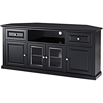 Kemble Tv Stands For Tvs Up To 56 Regarding Most Recent Amazon: Leick Black Hardwood Corner Tv Stand, 56 Inch (View 5 of 30)