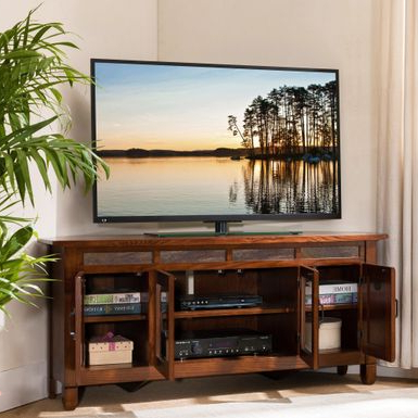 Kemble Tv Stands For Tvs Up To 56 With Regard To Fashionable Rent To Own Rustic Oak Wood/ Slat Tile 56 Inch Corner Tv (View 20 of 30)