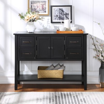 """Kinston 74"""" Wide 4 Drawer Pine Wood Sideboards Throughout Recent 36 Inch Wide Console Table (View 5 of 30)"""