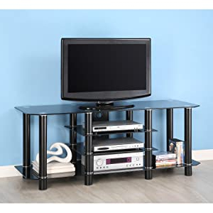 """Latest Amazon: 60 Inch Black Glass Metal Tv Stand: Furniture For Avenir Tv Stands For Tvs Up To 60"""" (View 25 of 30)"""