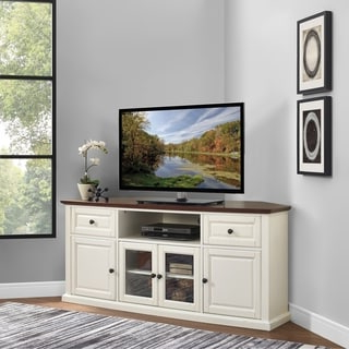 """Leafwood Tv Stands For Tvs Up To 60"""" Intended For Well Liked Shop Crosley Furniture Shelby White Veneer 60 Inch Corner (View 10 of 30)"""