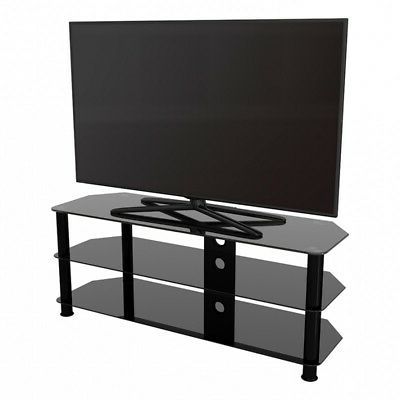 """Leafwood Tv Stands For Tvs Up To 60"""" With Well Liked Tv Stand Modern Black Glass Unit Up To 60"""" Inch Hd Lcd Led (View 14 of 30)"""